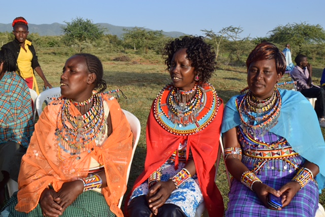 Emily on the right, and friends at the wedding. Most of the Maasai women wear wigs.